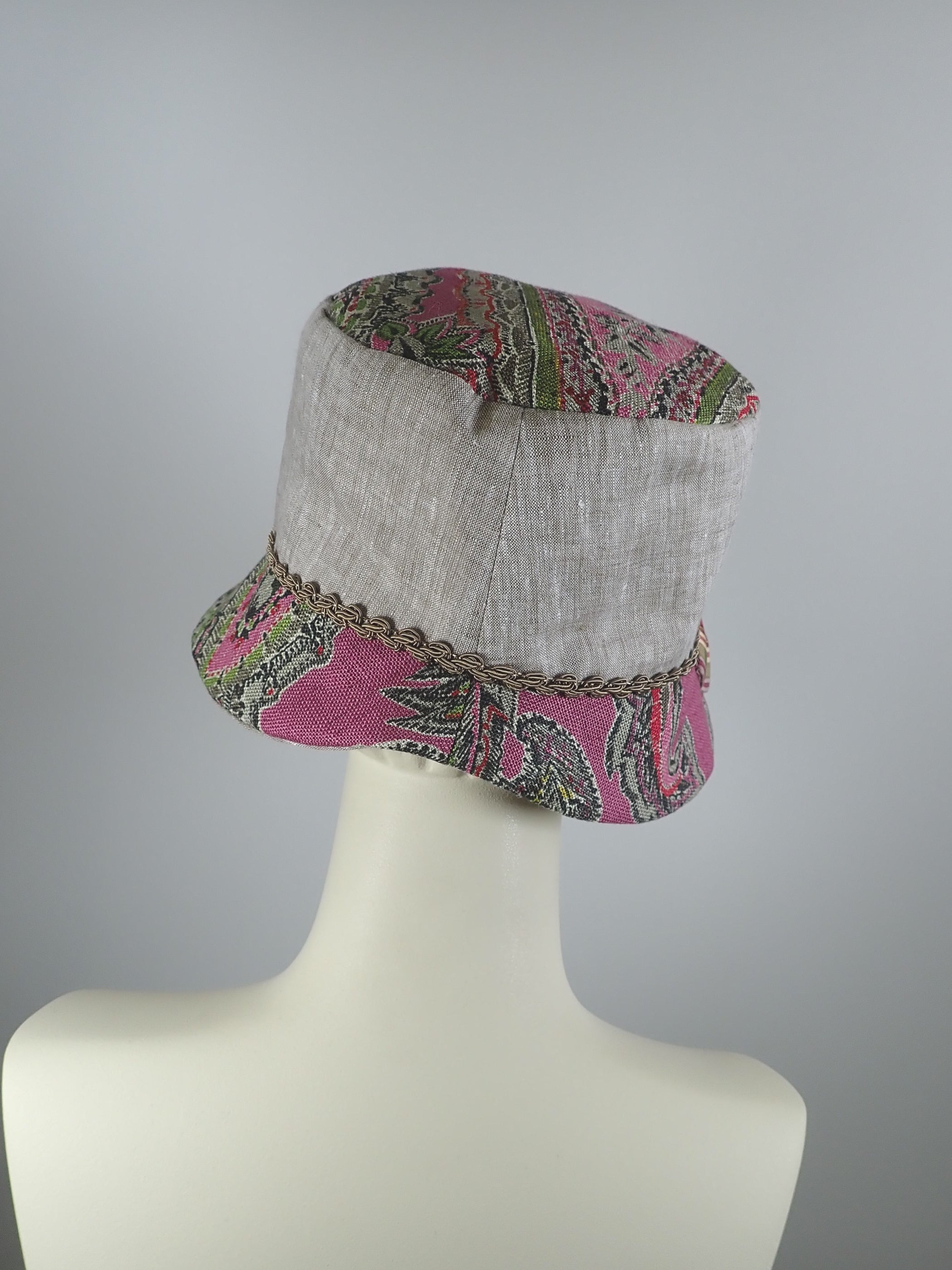 Pink Paisley and Natural Linen Summer Cloche Hat, Small Brim Summer Hat for Women, What a Great Hat, Ladies Summer Travel Hat