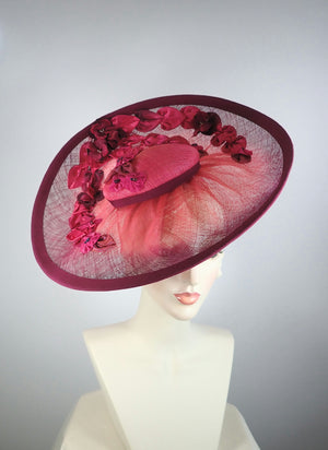 Dramatic Kentucky Derby Platter Fascinator Hat in Pink and Burgundy