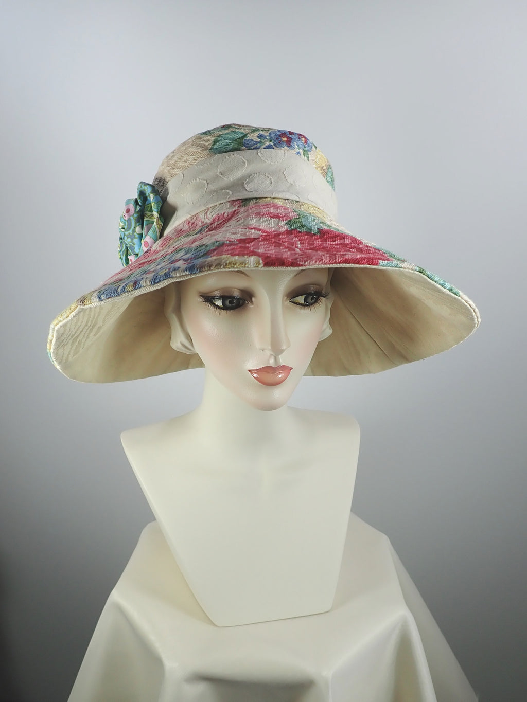 Vintage floral wide brim summer sun hat one of a kind