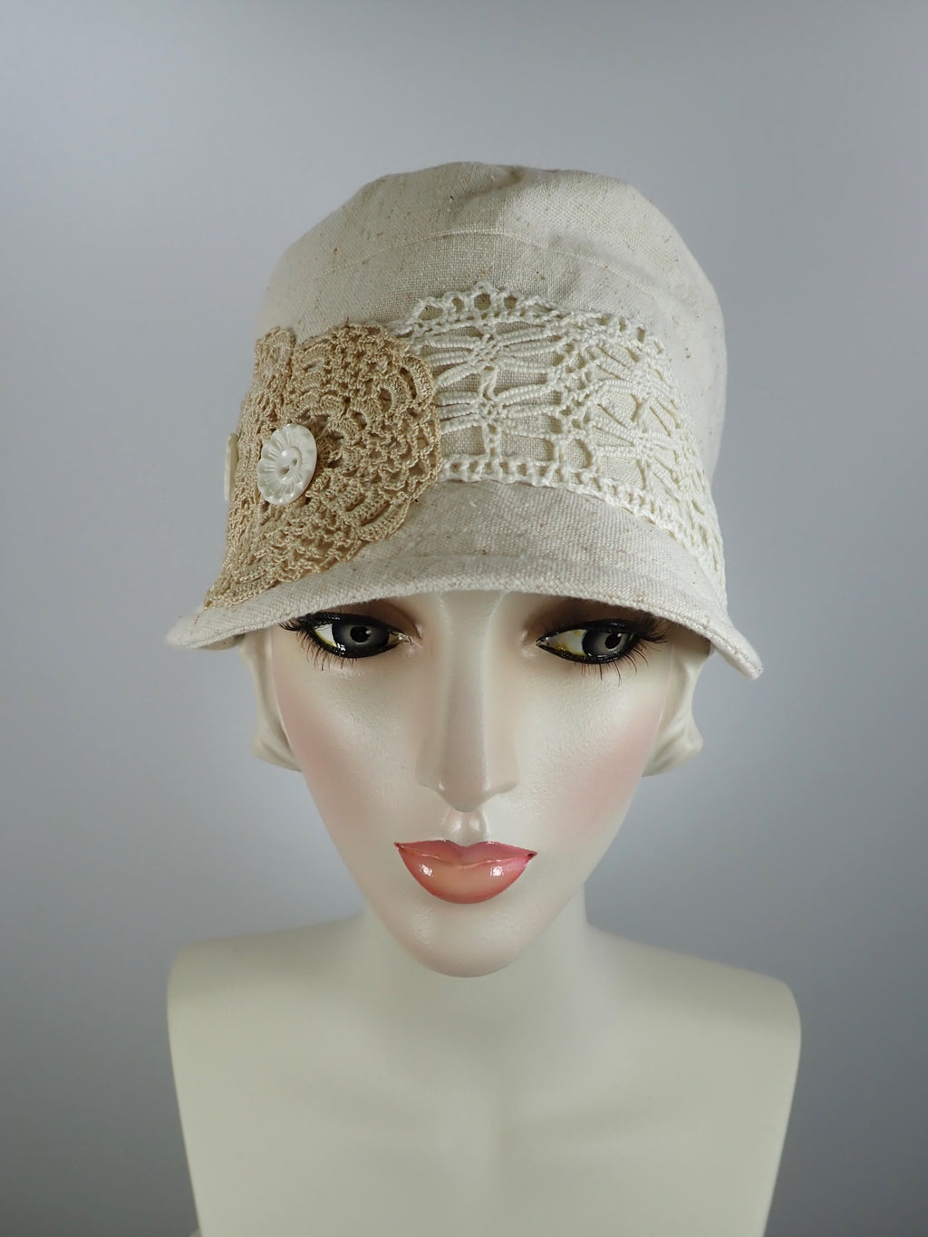 Natural nubby ivory military newsboy hat women w vintage lace
