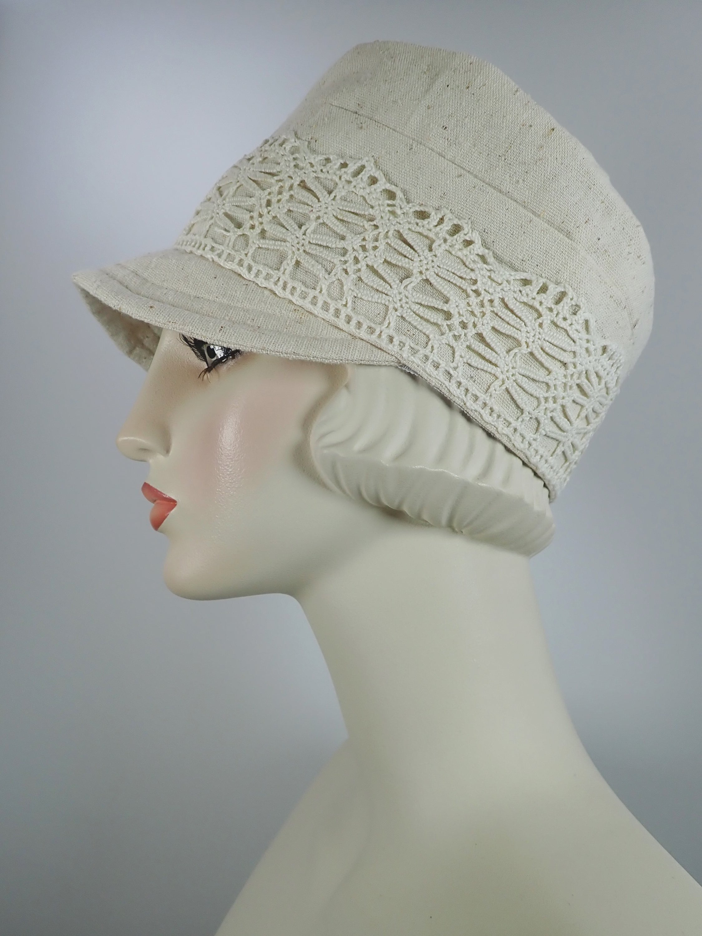 Womens Summer Cream Nubby Woven Fabric Military Newsboy Cap - Womens Visor Travel Hat, Summer Cool Hat