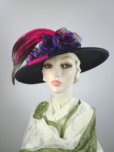 Black purple and pink Edwardian style straw hat. Kentucky Derby Hat. Church hat.