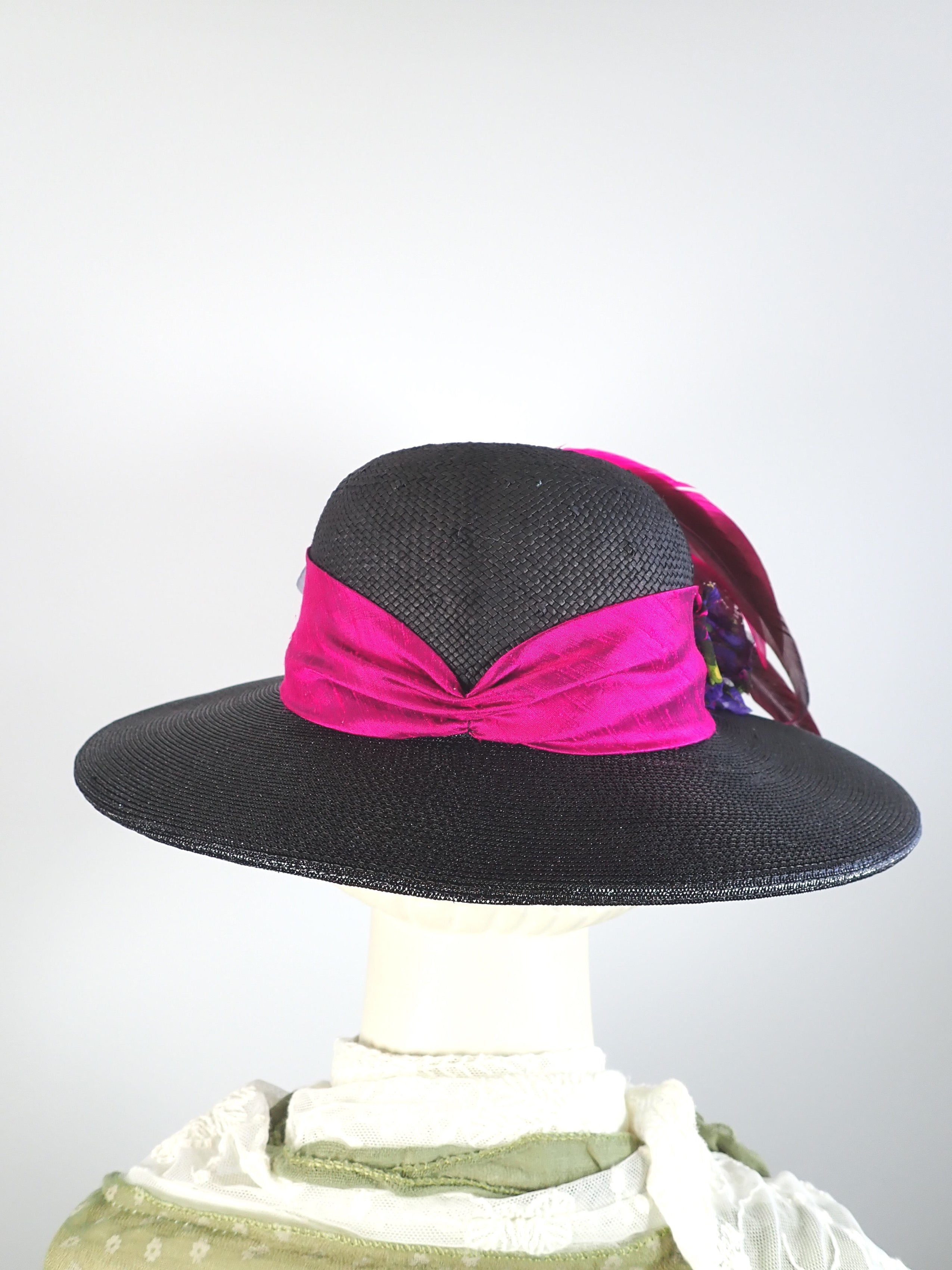 Bold statement brim hat. Recycled straw hat. Dramatic Black Pink Edwardian style hat. Wide Brim Church Hat.