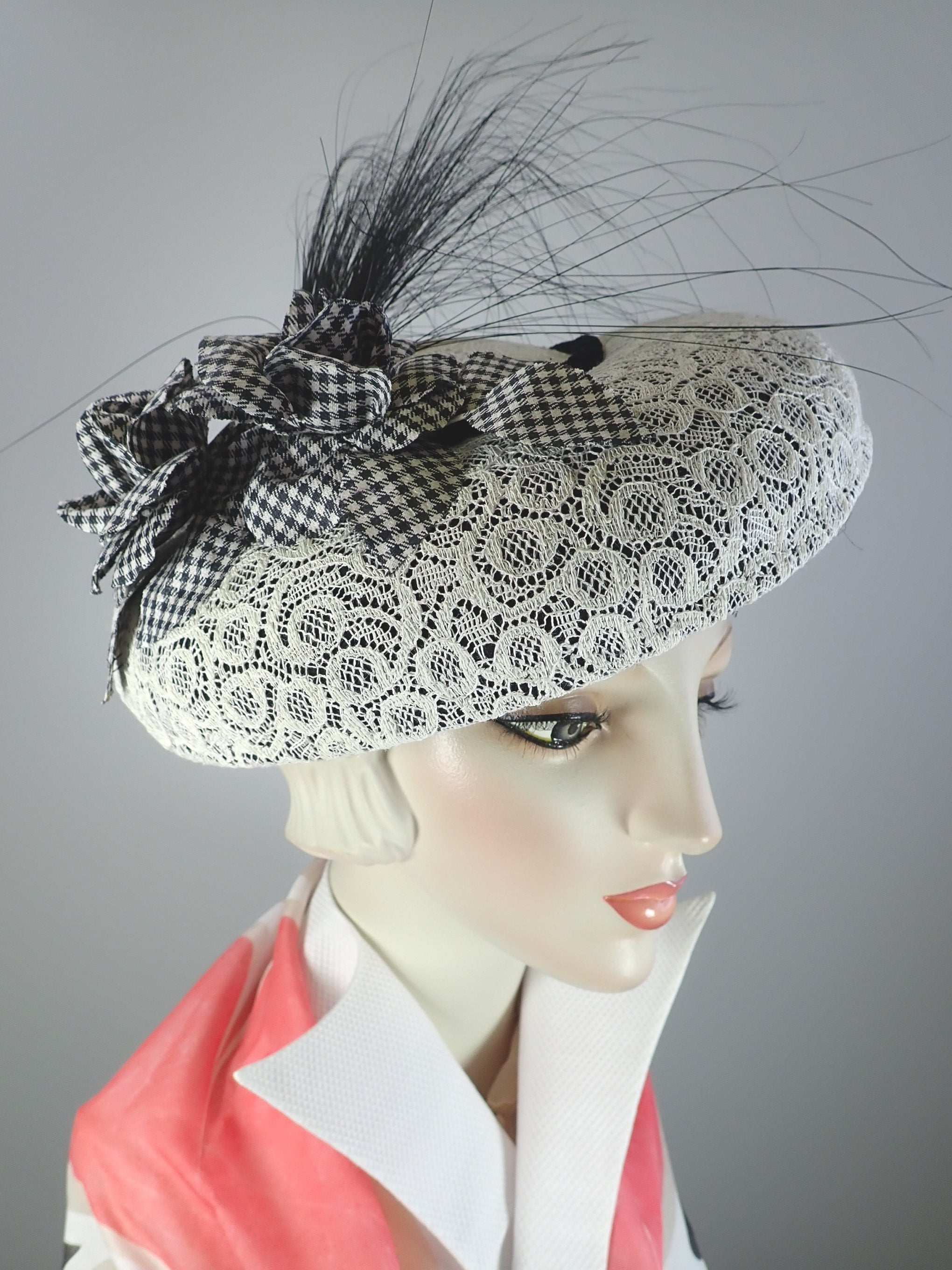 Vintage lace tilt hat with black and white flowers