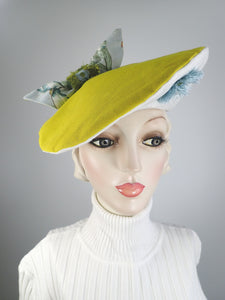 funky beret tilt hat 1940s style green and floral