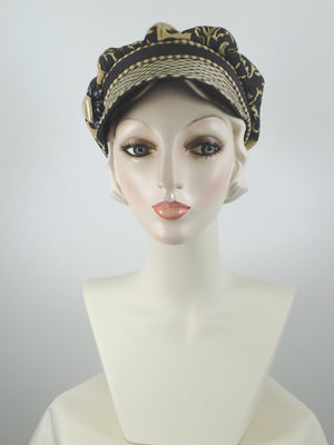 Women's Black and Gold Summer Newsboy Hat- Cotton Newsboy Cap for Women