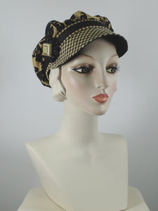 Black and gold cotton summer newsboy cap for women