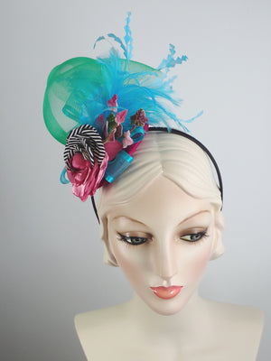 Blue, Green, Pink Womens Fascinator Hat