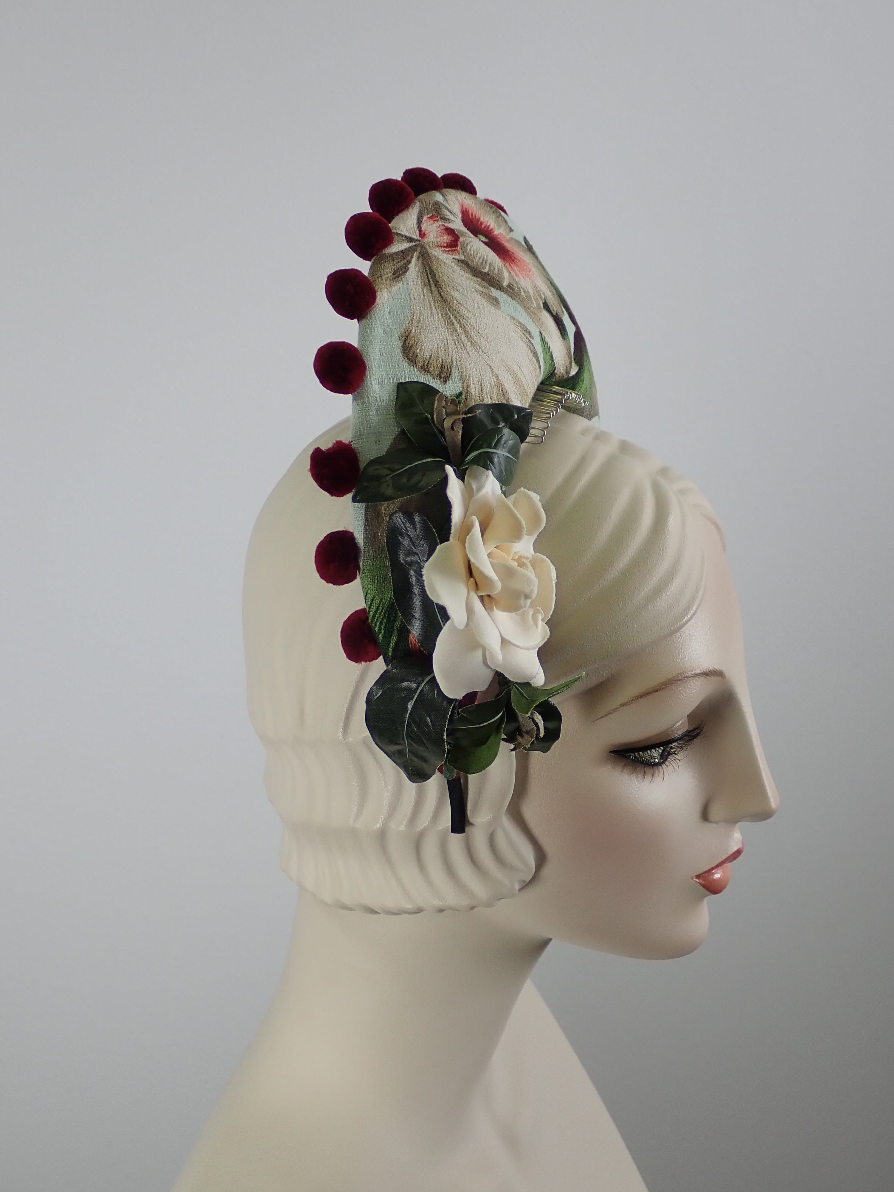 Tropical Print Tiara Halo Style Facinator in Green, Burgundy, Tan and White