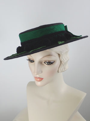 Black Straw Boater Hat for Women with Green Silk Band