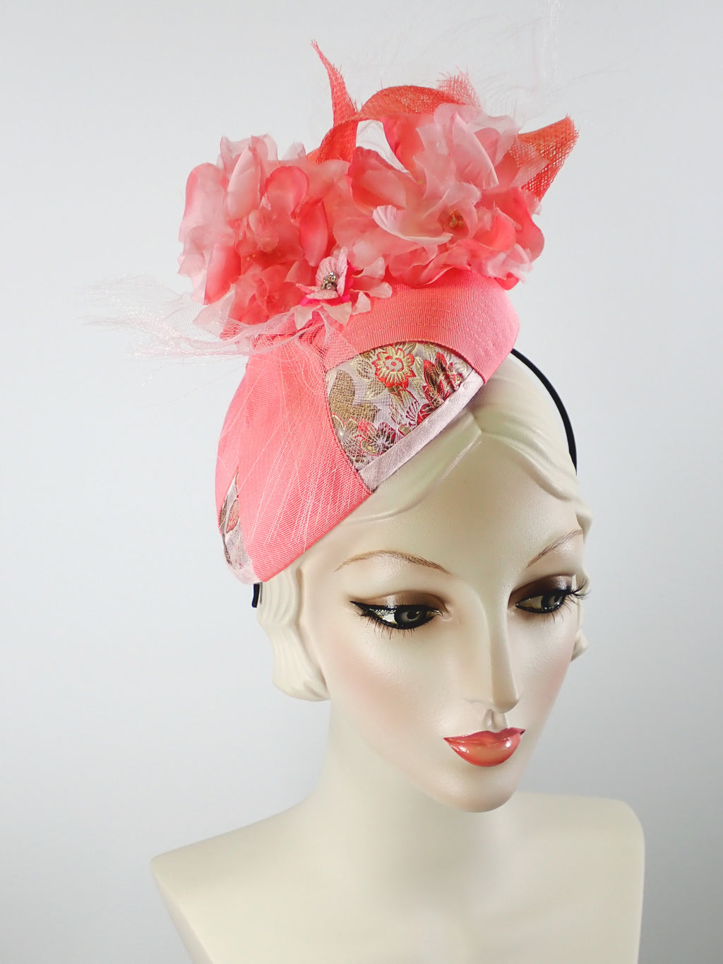 Women's Coral, and Pale Pink Ribbon and Sinamay Fascinator Hat for Kentucky Derby - Summer Fascinator for Church