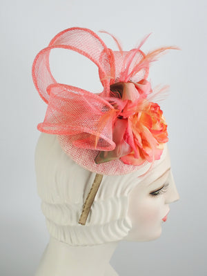 Peach Sinamay Fascinator - Pink Church Hat - Ladies Tea Fascinator - What a Great Hat