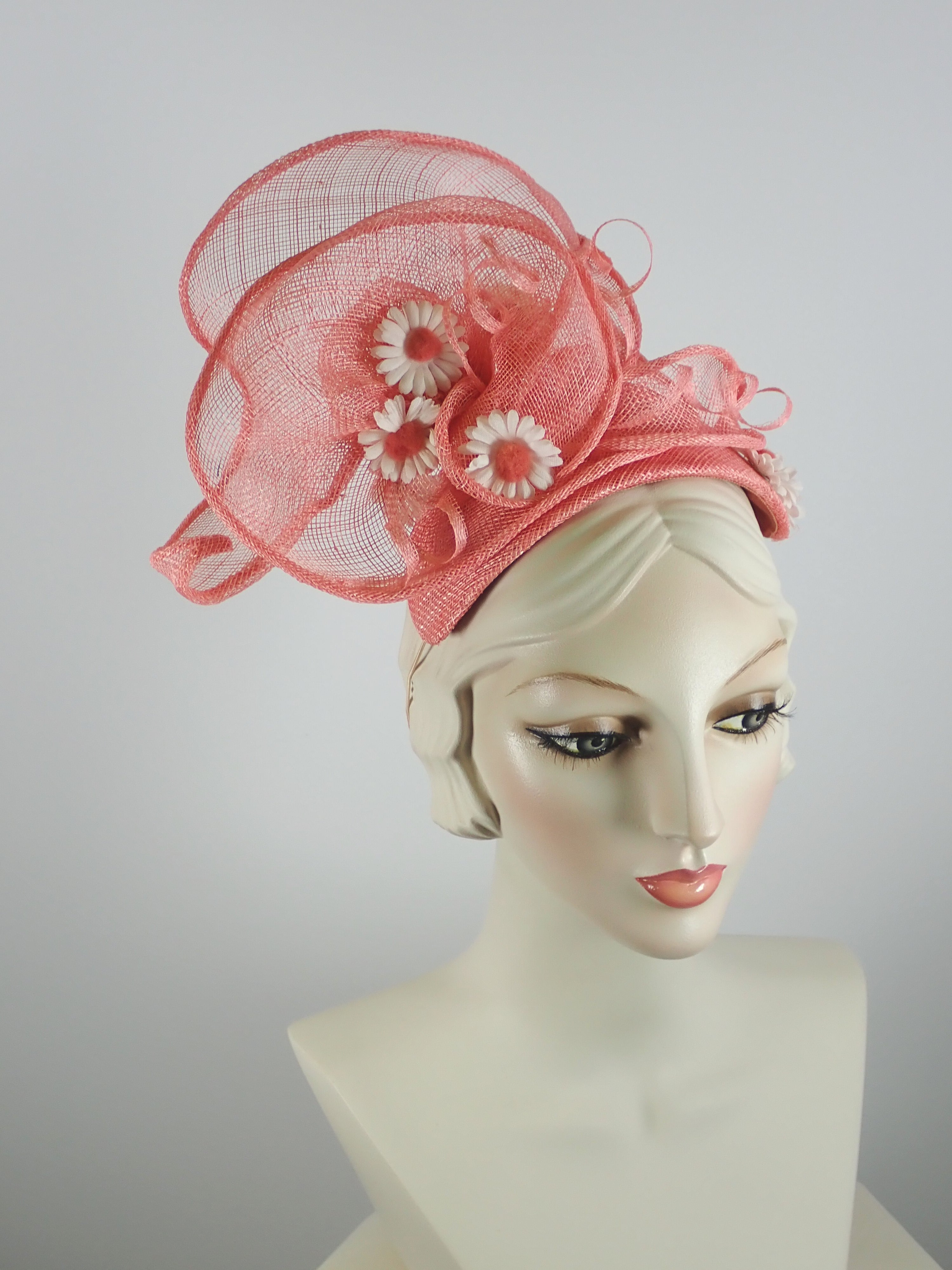 0b5d8011 Peach Coral Sinamay Fascinator Hat for Women – What a Great Hat