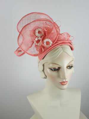 Peach Coral Sinamay Fascinator Hat for Women