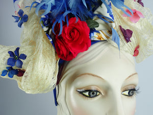 Womens Red, White, and Blue Fascinator Hat with Flowers and Blue Feathers