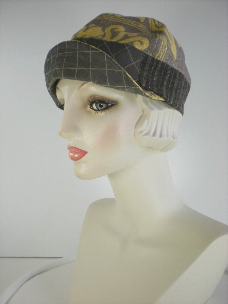 Womens Gray and Gold Cotton Summer Baseball Newsboy Cap