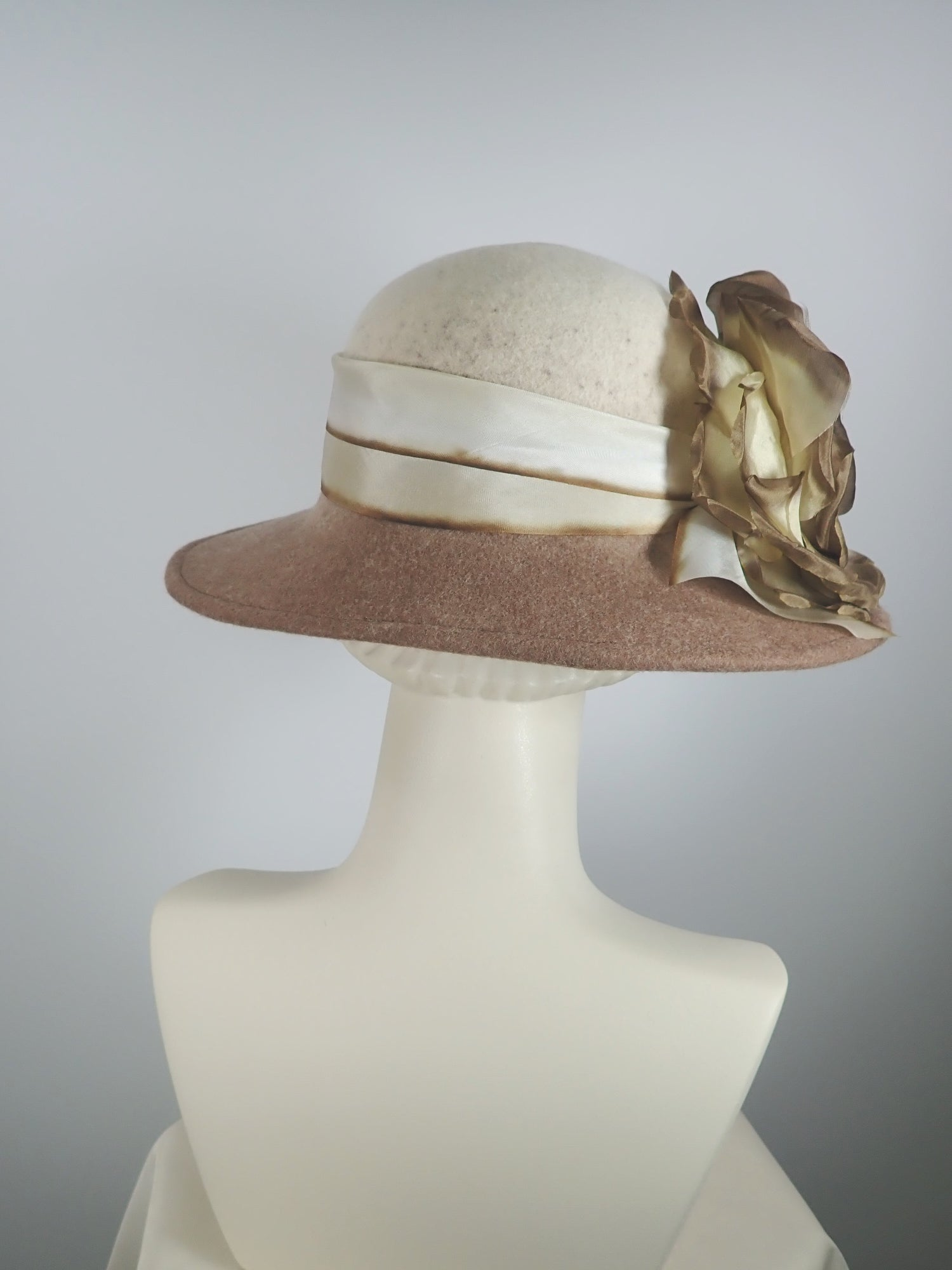 Oatmeal and Brown Winter Wool Downton Abbey Style Brim Hat with Oversize Rose and Silk Band
