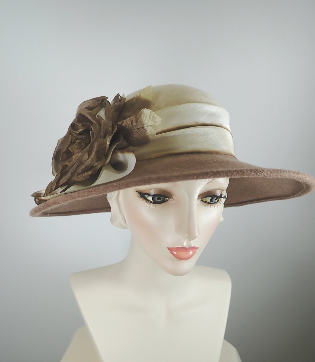 Oatmeal and brown wool felt brim hat large silk flower