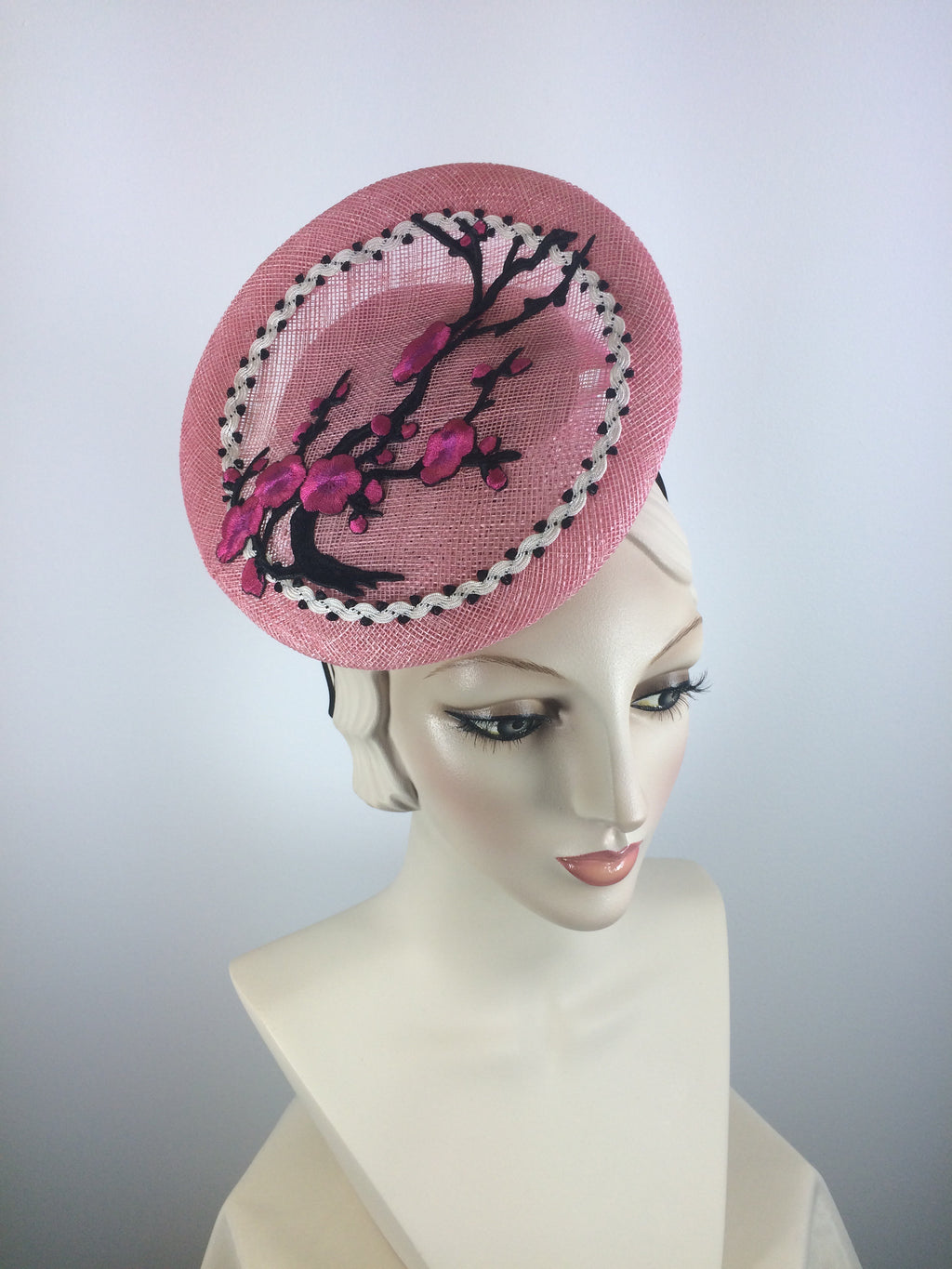 Pink, Black and White Flower Tilt Fascinator for Kentucky Oaks