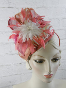 Handmade one of a kind fascinator hat in pink, peach and ivory on headband