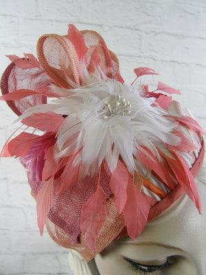 Women's Coral, Cream and Pink Fascinator Hat for Kentucky Derby