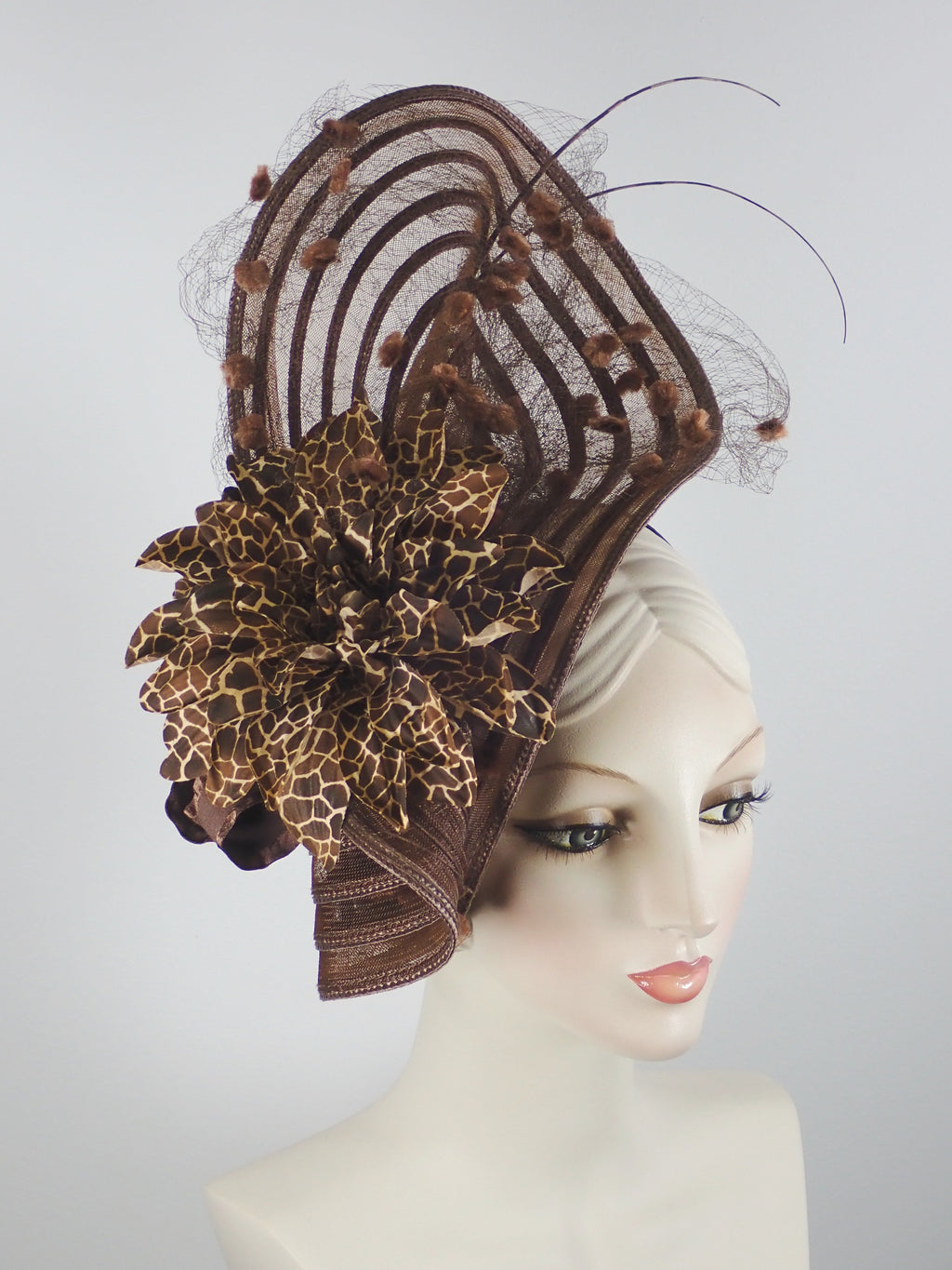 Dramatic Fascinator hat in brown by What a Great Hat