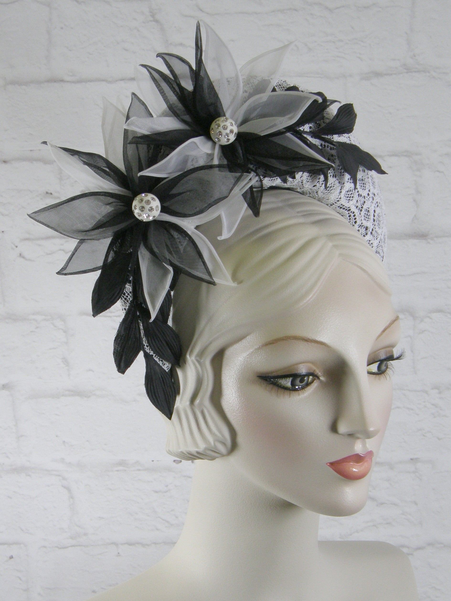Tiara Halo Style Fascinator in Black and White with Vintage Lace