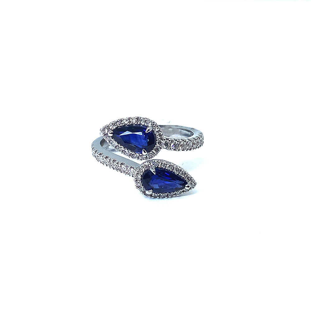 18ct White Gold Double Sapphire Pear Diamond Ring