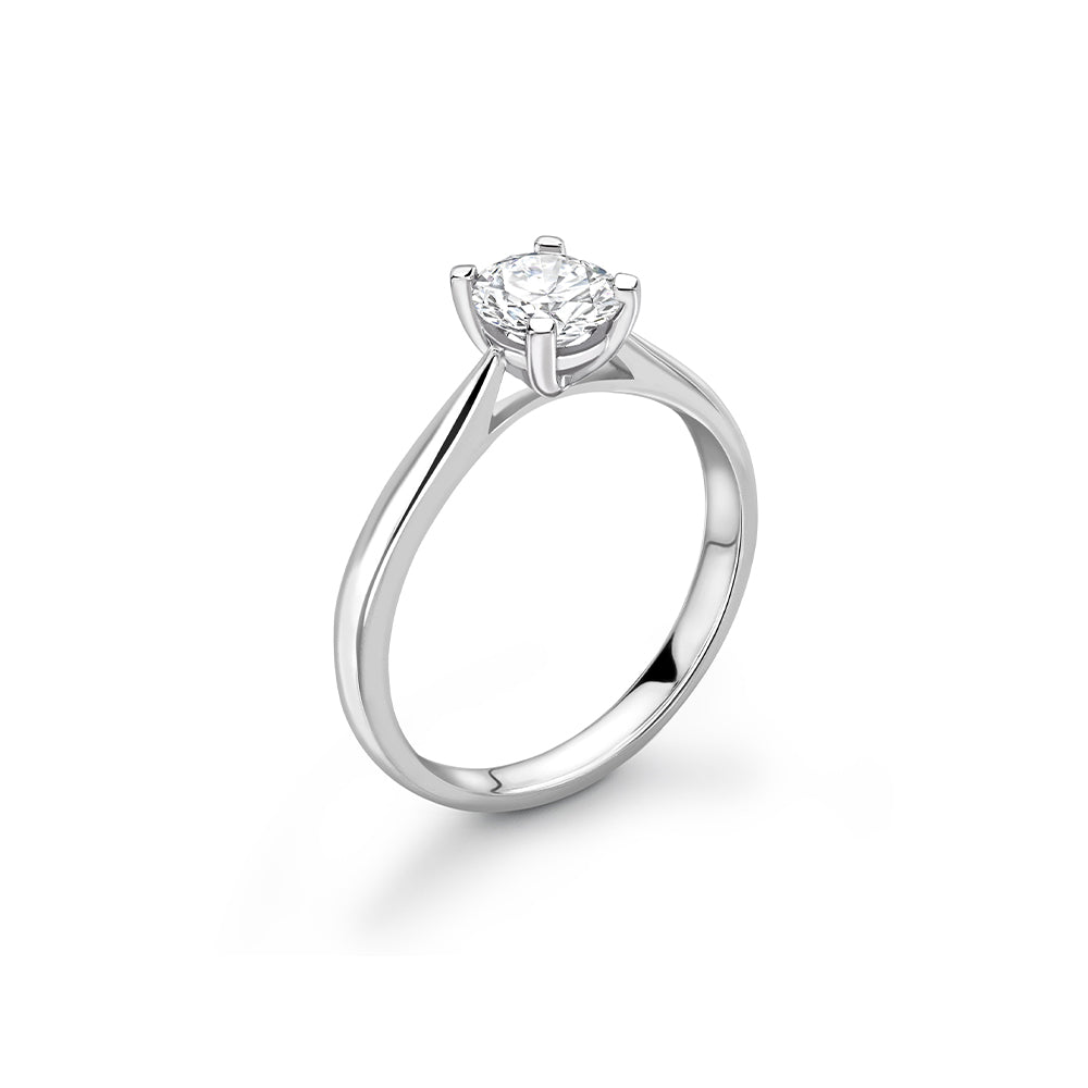 18ct White Gold Round Diamond Ring with Tapered Shoulders