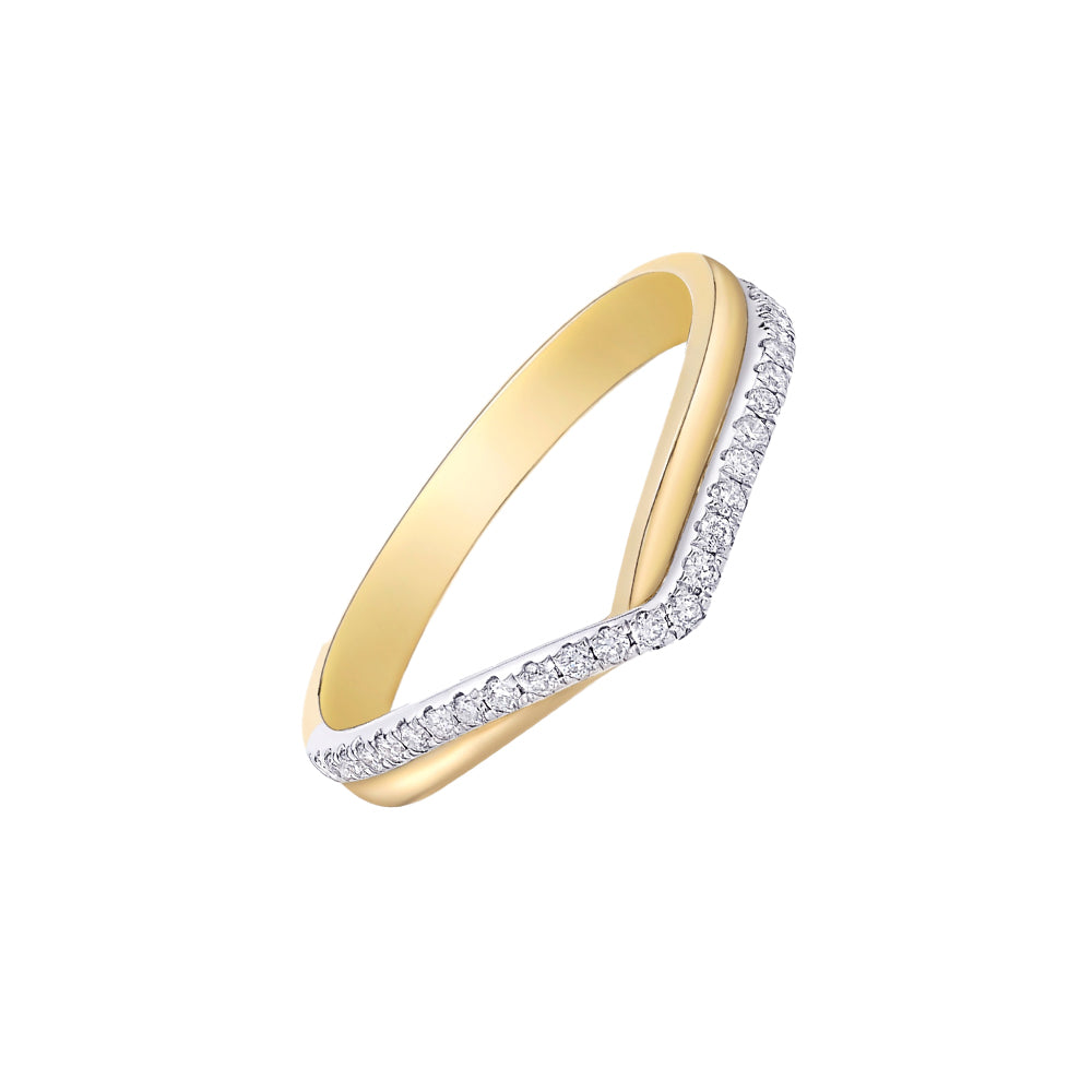 18ct Two-tone White and Yellow Gold Diamond Wishbone Ring