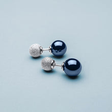 Load image into Gallery viewer, Bering Earrings | Sparkling Silver and Ceramic Blue Stud | 703-197-05 | Petite