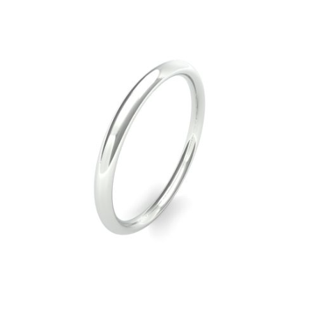 White Gold 2mm Wedding Band | Traditional Court | Medium Weight