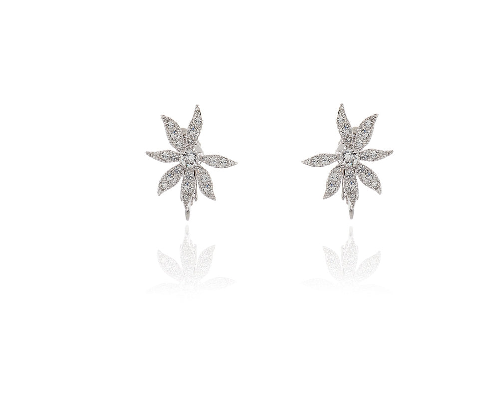 Forget Me Not Silver Clip-on Earrings