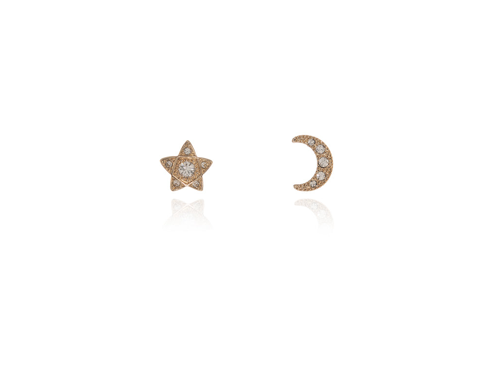 Lunar Star Gold Earrings