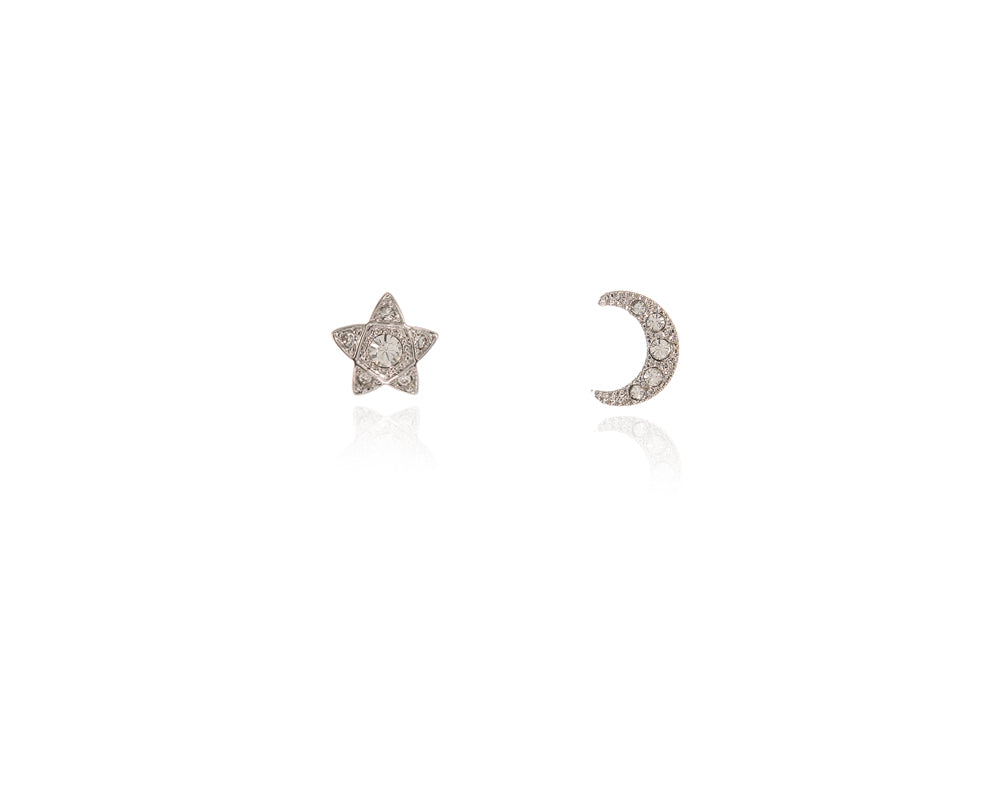 Lunar Star Silver Earrings