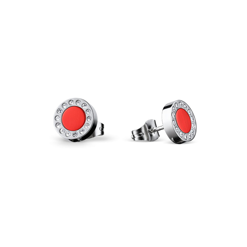 Bering Earrings | Polished Silver and Red Ceramic | 707-149-05