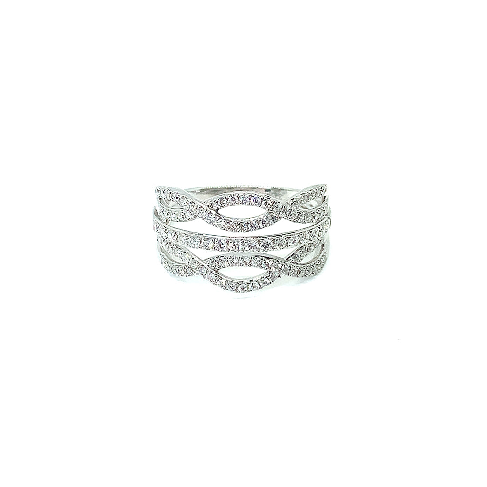 9ct White Gold Double Twist Ring