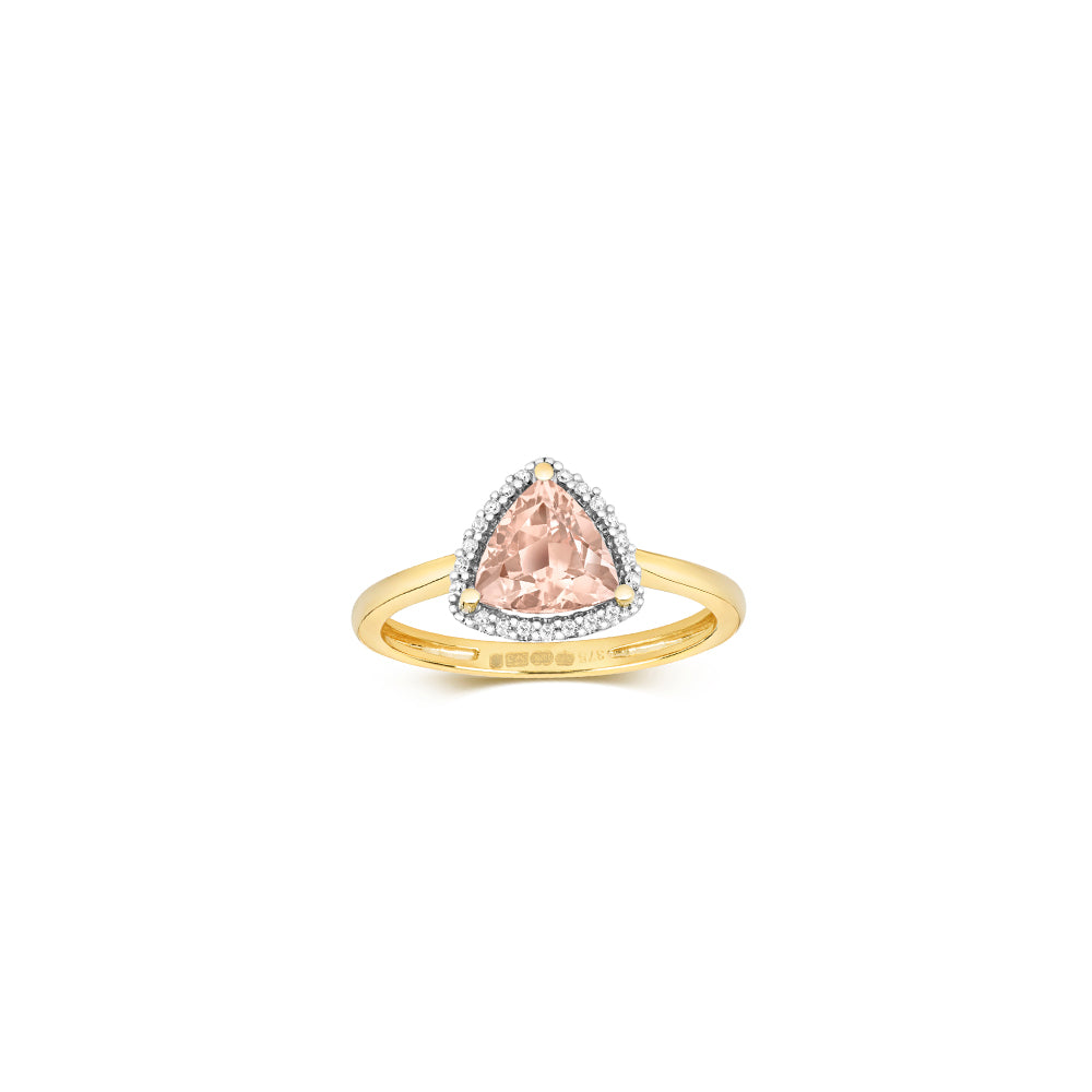 9ct Yellow Gold Trillion Morganite & Diamond Ring
