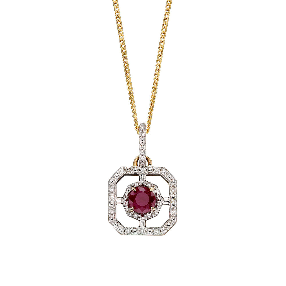 9ct Yellow Gold Ruby and Diamond Art Deco Pendant