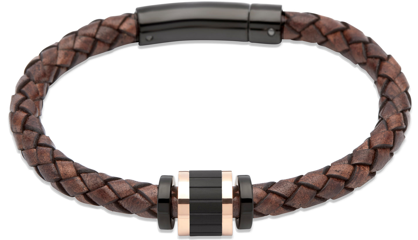 Antique Dark Brown Leather Bracelet with Rose Gold B324ADB