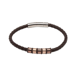 Dark Brown Leather Bracelet with Rose Gold Detail B405DB