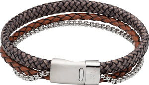 Antique Dark Brown Leather Bracelet with Steel Chain B481ADB