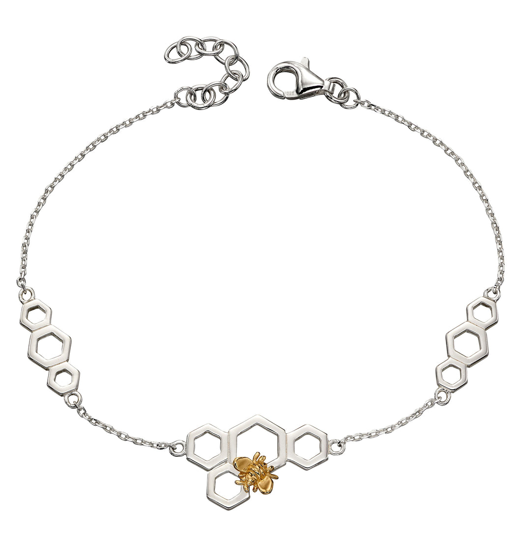 Silver & Gold Honeycomb Bee Bracelet
