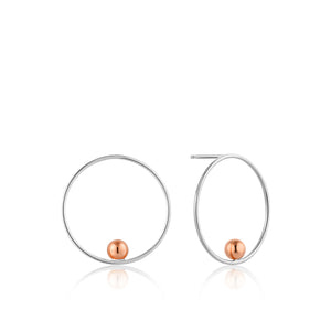 Silver & Rose Orbit Front Hoop Earrings E001-01T