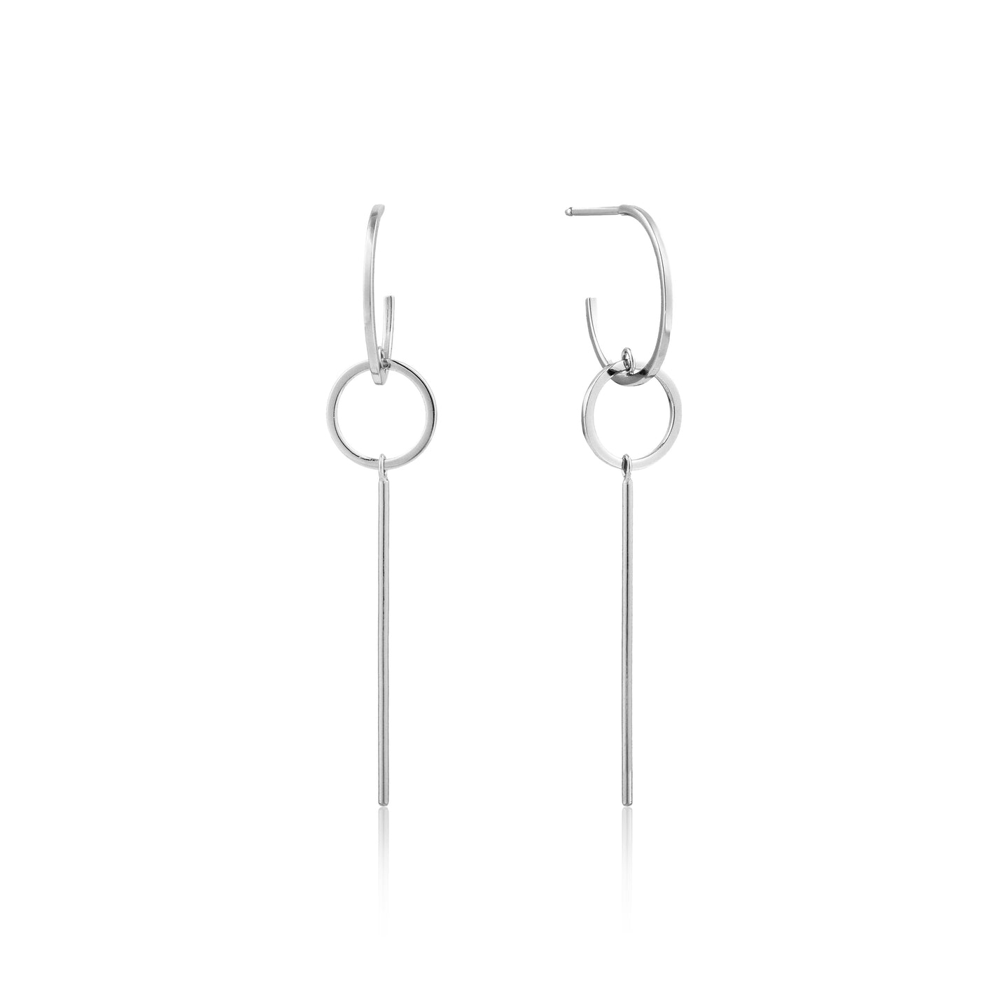 Silver Modern Solid Drop Earrings E002-03H
