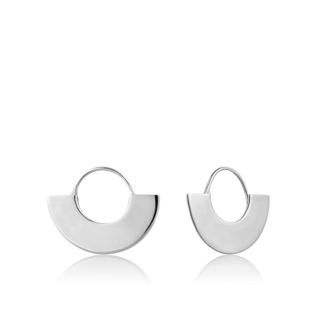 Silver Geometry Fan Hoop Earrings E005-03H