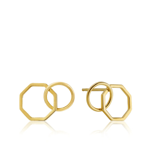 Gold Two Shape Stud Earrings E008-08G