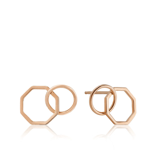 Rose Gold Two Shape Stud Earrings E008-08R
