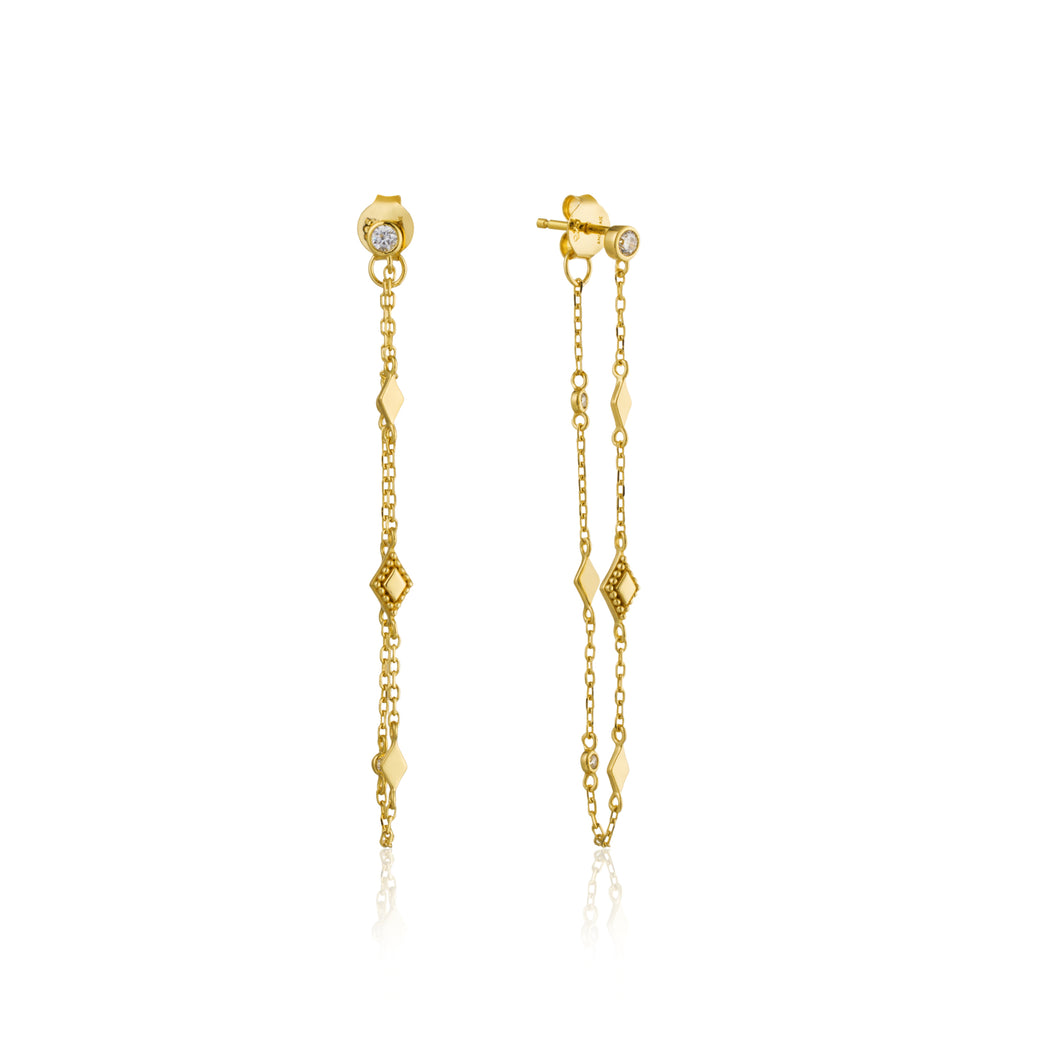 Gold Bohemia Chain Stud Earrings E016-04G