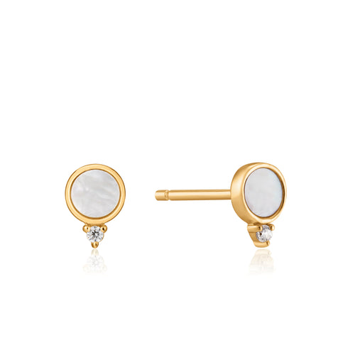 Gold Mother Of Pearl Stud Earrings E022-01G